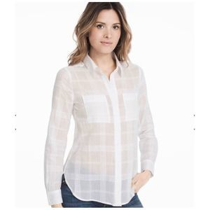 White House Black Market Plaid Button Down Top 6